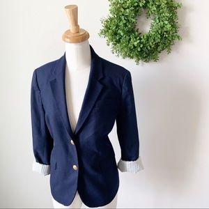 J. Crew Schoolboy Navy Wool Double Button Blazer